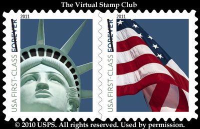 Service Will Issue A First Class Lady Liberty Flag Forever Se Tenant Pair Two Designs In Pressure Sensitive PSA Coil Of 100 Stamps Item 787900